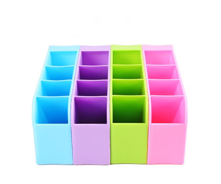 《喨晶晶生活工坊》紫色 韓國塑料桌面收納盒 創意雜物整理盒 辦公桌面化妝品儲物盒