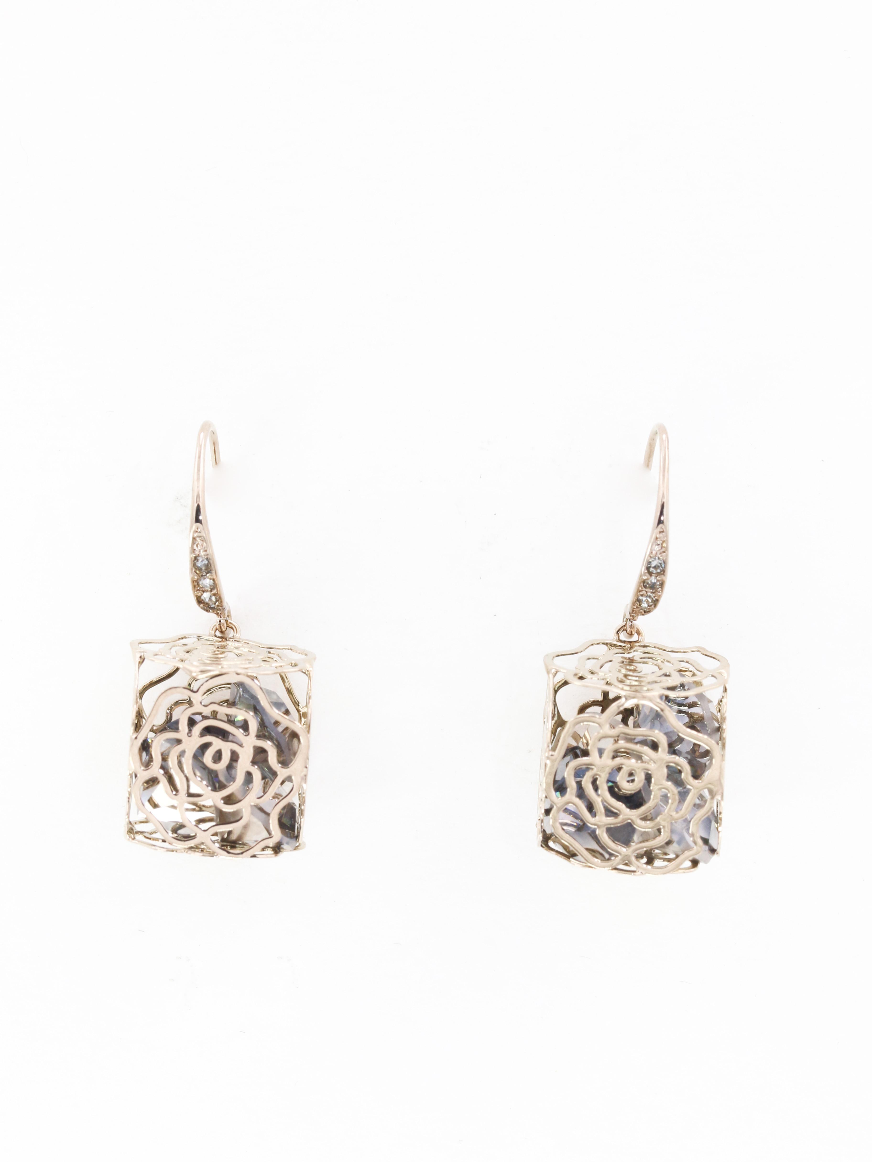 Golden Rose cube 方形玫瑰耳環