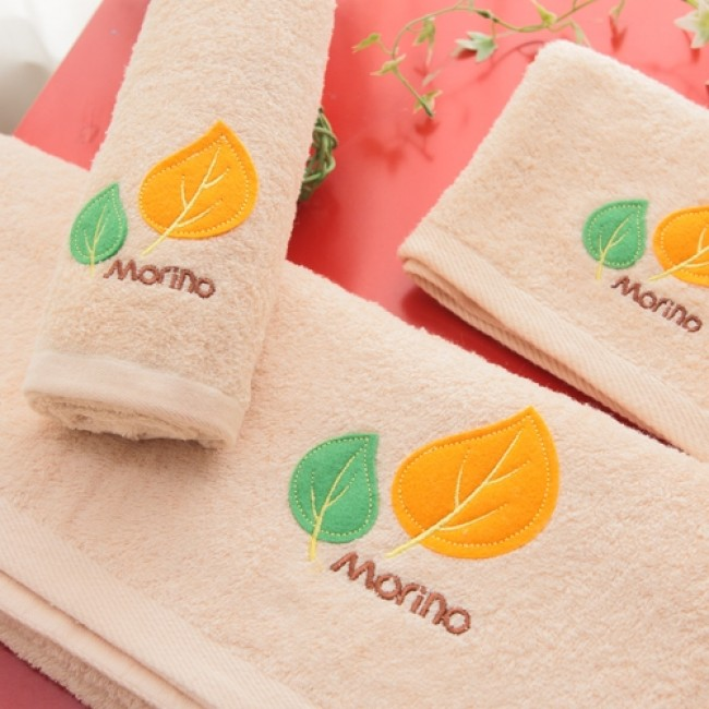 【MORINO摩力諾】美國棉素色貼布繡方巾--咖啡色
