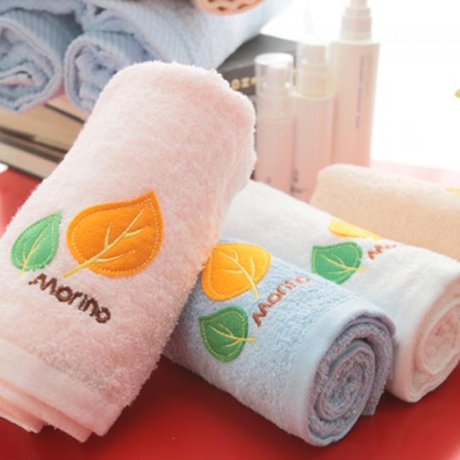 【MORINO摩力諾】美國棉素色貼布繡方巾--粉紅色
