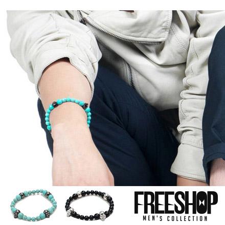 手環 Free Shop【QFS013-1】日韓系潮流骷髏頭造型彈性伸縮綠松石黑曜石複合民族手環 二色