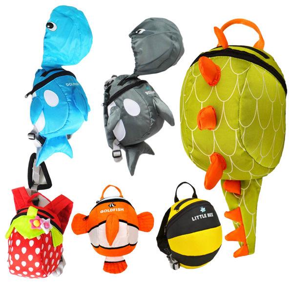 EMMA商城~兒童可愛鯨魚.尼莫.草莓.蜜蜂.恐龍.動物造型防走失學習雙肩背包