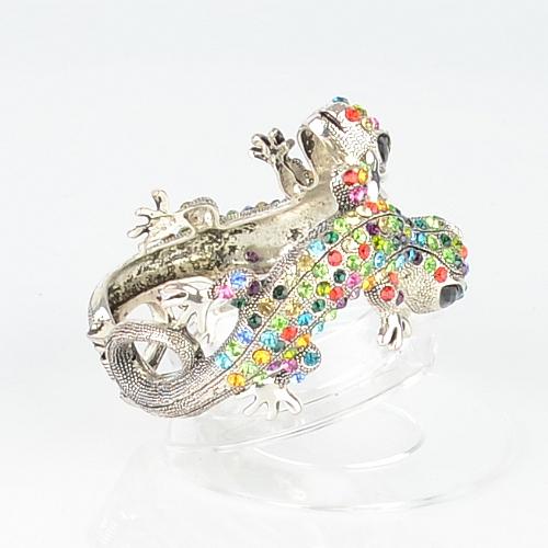 【Barocco Nuts】[手環]派對系列:華麗彩銀 雙蜥報喜-夾式手鐲 首飾/手飾(PARTY飾品/潮流/女王款)