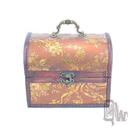 【Barocco Nuts】[首飾盒]藏寶盒:中盒-金色 雛菊-椰色褐(金銀島/可可島-化妝/化妝箱-珠寶盒)