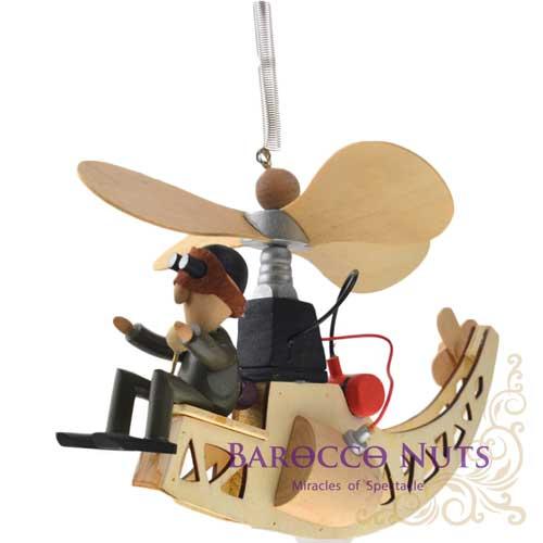 【Barocco Nuts】[懷舊古玩] 木頭懸吊童玩:古早式螺旋槳直升機-棕護目鏡飛行員(旋翼可動/療癒/創意/可愛/趣味/玩具/飛行載具/旋翼機/垂直起降/想飛)