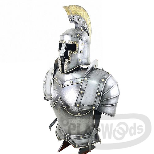 【Playwoods】[歐風武具]騎士半身盔甲+卓越頭盔  附展示架台Knight's Helmet and Armor(萬聖/Cosplay/歐洲/羅馬/中世紀/武士/防具)