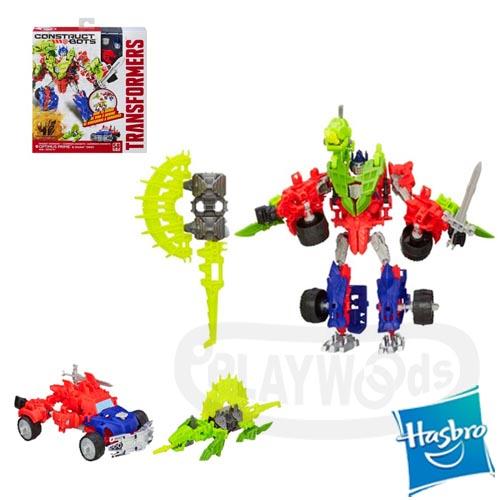 【Playwoods】[變形金剛4/KRE-O/KREO] 樂高LEGO型恐龍機器人:柯博文+嚙咬Optimus Prime(58片)(擎天柱/Transformer/Construct Bots/博派/電影版/變型金剛/變形金鋼)