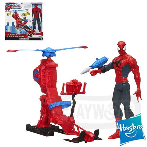 【Playwoods】[漫威終極蜘蛛人]動畫系列:12吋直升機人物組Spider-Man with Web Copter(Ultimate Spider Man/終極蜘蛛俠/Marvel超人/電視影集/公仔/驚奇再起)