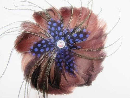 【Barocco Nuts】[PARTY系列]頭飾/髮飾:扶桑花 水鳥羽毛別針-搖滖女爵 神秘藍光款(藍靛色)