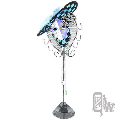 【Barocco Nuts】[飾品架]格紋 玫瑰 側帽:雙色紫白面頰 黑藍騎士-戒指底座(首飾架/戒指架/項鍊架/耳環架/飾品架)