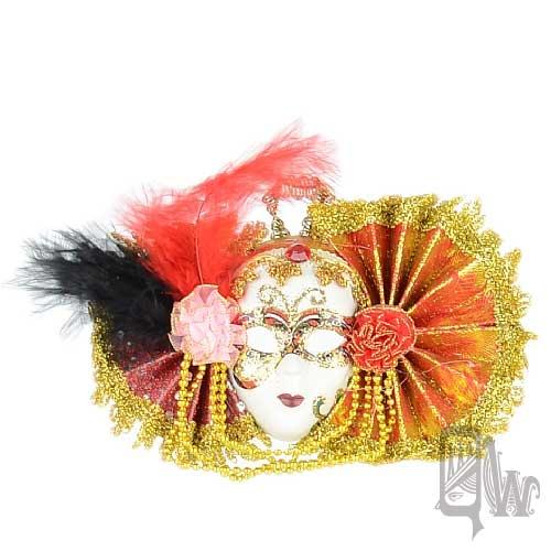 【Barocco Nuts】[面具]派對系列:對稱雙紅扇 小面具飾品 華麗奔牛節(舞會/嘉年華/歌劇魅影/party/化裝舞會/化妝舞會)