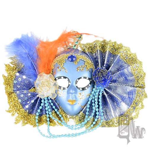 【Barocco Nuts】[面具]派對系列:對稱雙藍扇 小面具飾品 藍面美人魚(舞會/嘉年華/歌劇魅影/party/化裝舞會/化妝舞會)