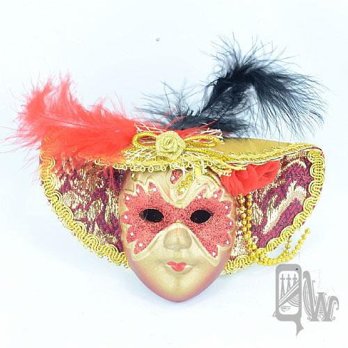 【Barocco Nuts】[面具]派對系列:羽毛紅金大沿帽 小面具掛飾 紅蒙面客(舞會/嘉年華/歌劇魅影/party/化裝舞會/化妝舞會)