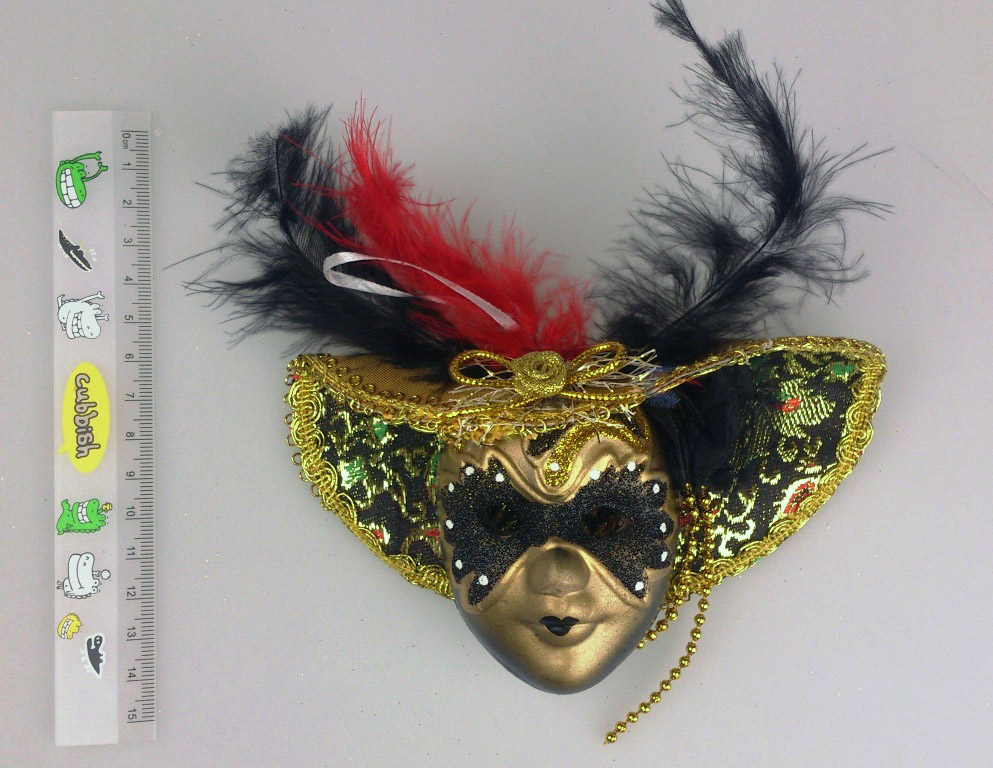 【Barocco Nuts】[面具]派對系列:羽毛墨金大沿帽 小面具掛飾 金蒙面客(舞會/嘉年華/歌劇魅影/party/化裝舞會/化妝舞會)
