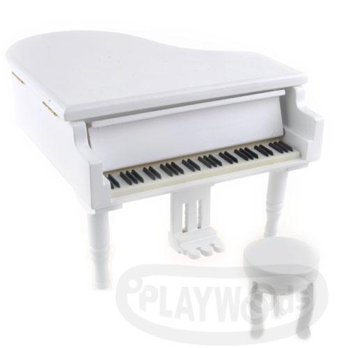 【Barocco Nuts】[音樂盒Music Box] 三角平台 白色 金色踏板 木製古典鋼琴 八音盒 機芯(聖誕節/X'mas/禮物/送禮/生日禮物/情人節/七夕女友/婚禮/創意)