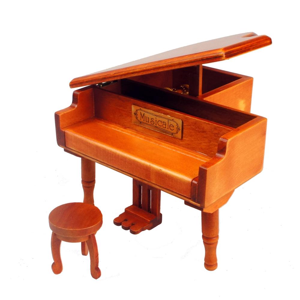 【Playwoods】[音樂盒Music Box] 平台式 原木色 古典鋼琴 首飾盒 演奏 琴鍵 (媽媽/母親節/禮物/送禮/創意)