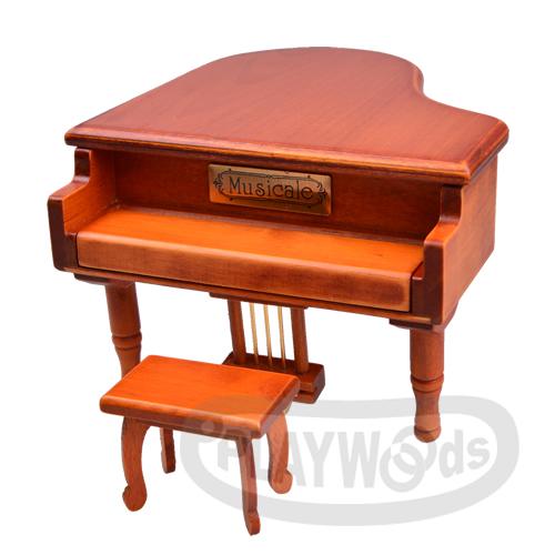 【Barocco Nuts】[音樂盒Music Box] 三角平台 原木色 金色踏板 木製古典鋼琴 (八音盒/首飾盒/聖誕節/Xmas/生日/禮物/情人節/七夕女友/婚禮/創意/演奏)