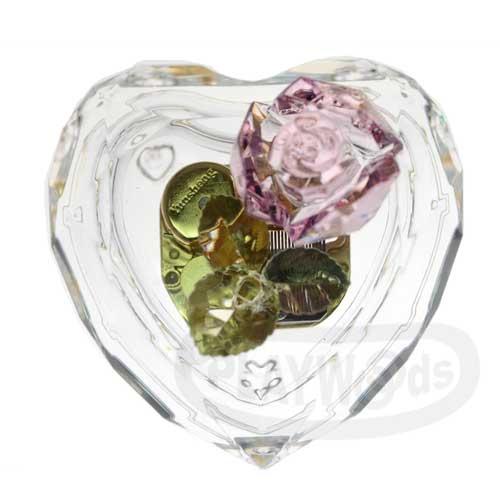 【Barocco Nuts】[音樂盒Music Box] 水晶透明 粉玫瑰綠葉 心形音樂盒-鍍金機芯(多角度切割/八音盒/聖誕節/Xmas/禮物/送禮/情人節/七夕女友/婚禮)