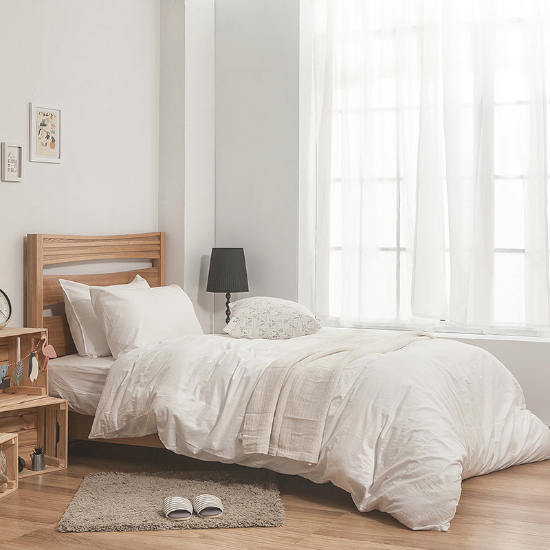 床包被套組 / 雙人-100%精梳棉【素色系列-白色】含兩件枕套,戀家小舖,台灣製SS01-AAA212