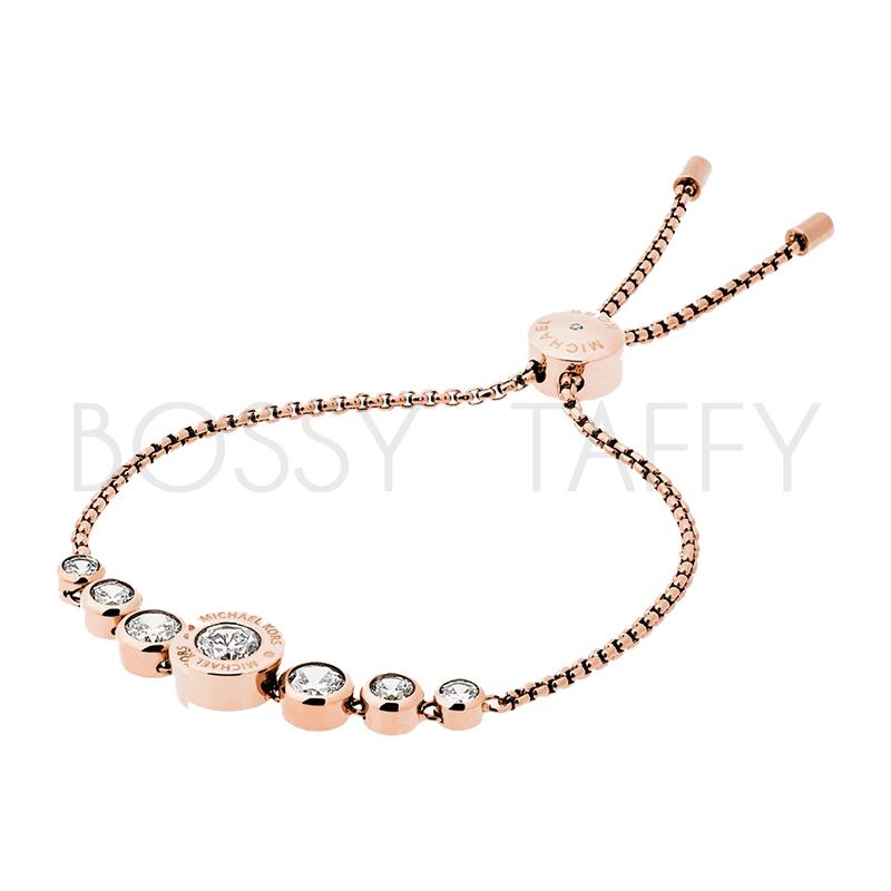 MICHAEL KORS 玫瑰金鑲鑽可調式手鍊 MK Cubic Zirconia Rose Gold-Tone Slider Bracelet
