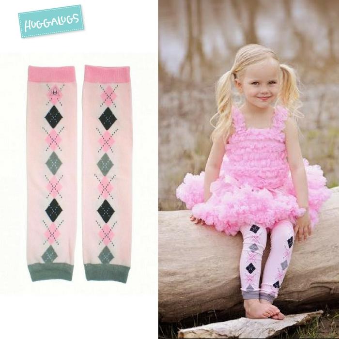 ★啦啦看世界★ Huggalugs 澳洲國民小童手襪套 / 粉紅魅力襪套 Cheeky Argyle Legwarmers 襪套