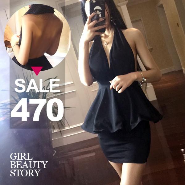 SISI【D6202】性感夜店深V領露背掛脖綁帶縮腰荷葉波浪裙襬包臀連身裙禮服洋裝