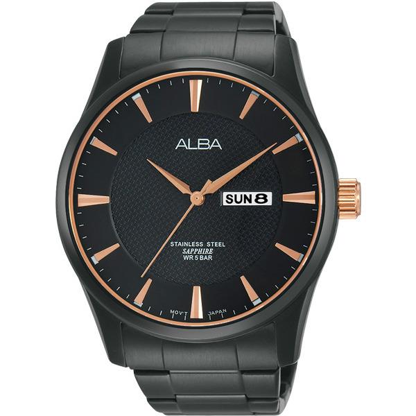 ALBA VJ43-X028K(AV3339X1)黑金時尚簡約腕錶/黑面45mm