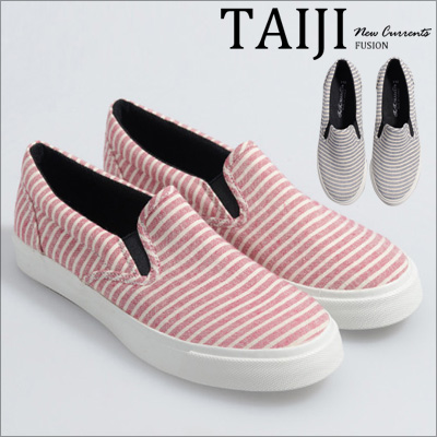 日系懶人鞋‧親子款簡約條紋休閒懶人鞋‧二色【NOU51】-TAIJI-增高/工作/帆布鞋