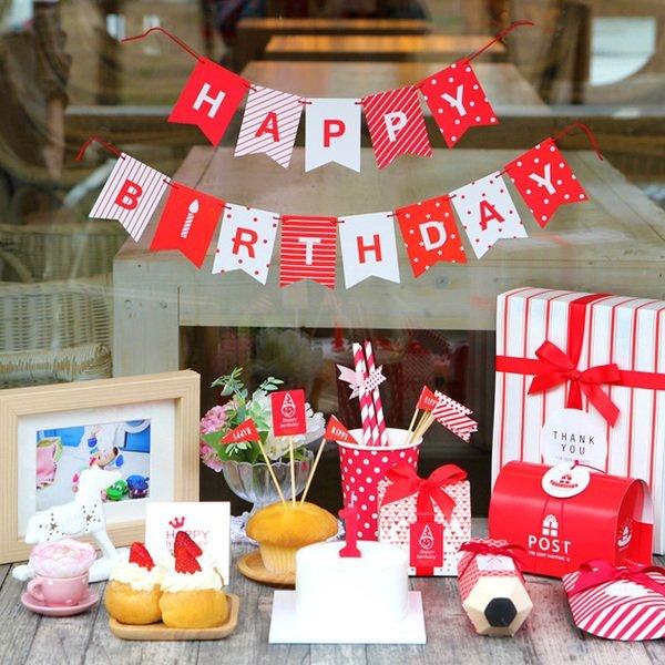 =優生活=韓國創意 DIY生日派對裝飾拉花彩旗HAPPY BIRTHDAY燕尾旗幟三角旗派對裝飾生日聖誕節慶聚會卡片 野餐 派對