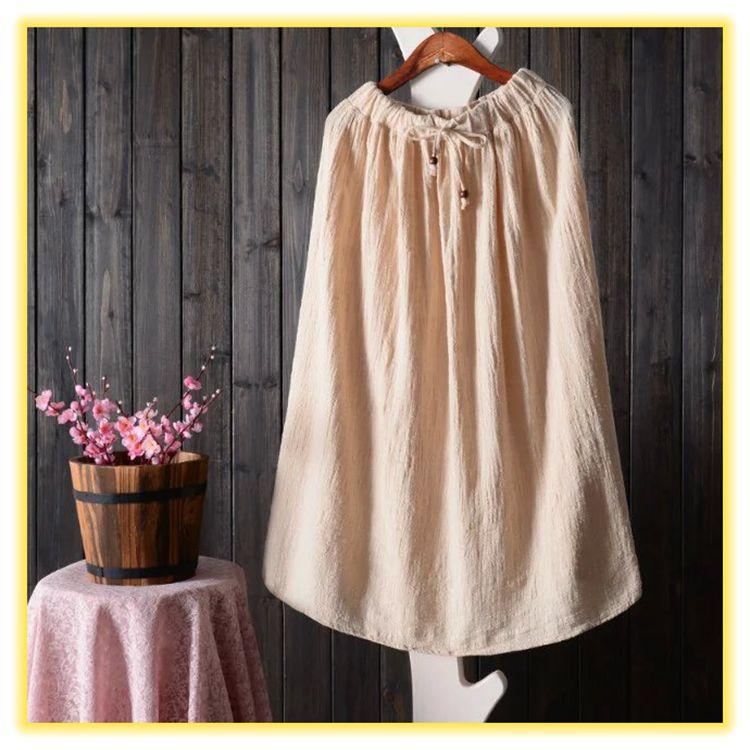 日系森林 素色鬆緊腰純色棉亞麻長裙
