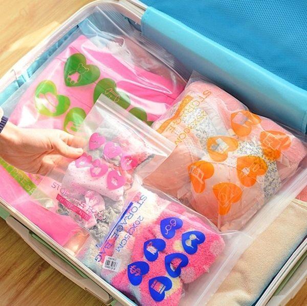♚MY COLOR♚韓國簡約旅行自封袋 衣物分類 整理 收納 分類袋 透明 防水 出差 防水 (XL)【Q121】