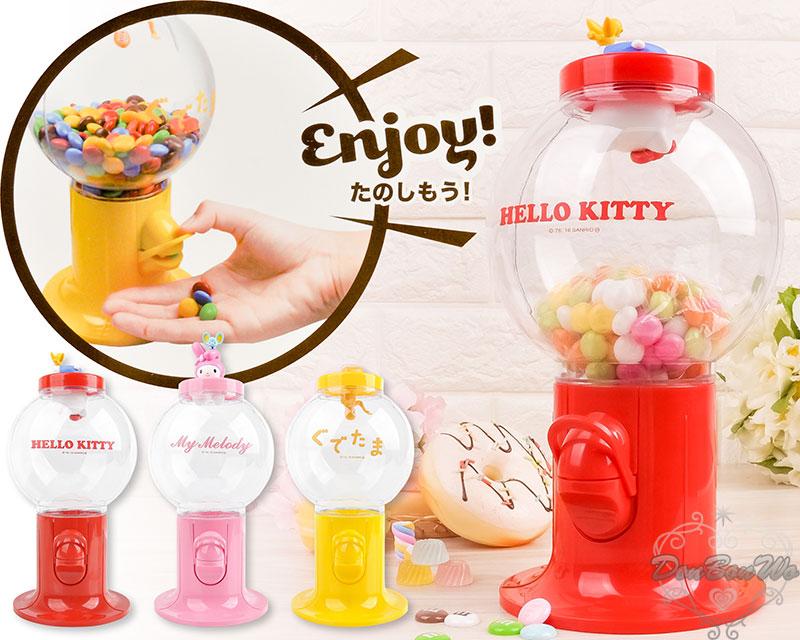[聖誕專區]KITTY美樂蒂蛋黃哥復古經典糖果轉蛋機玩具附汽水糖紅964569粉964583黃964682海渡