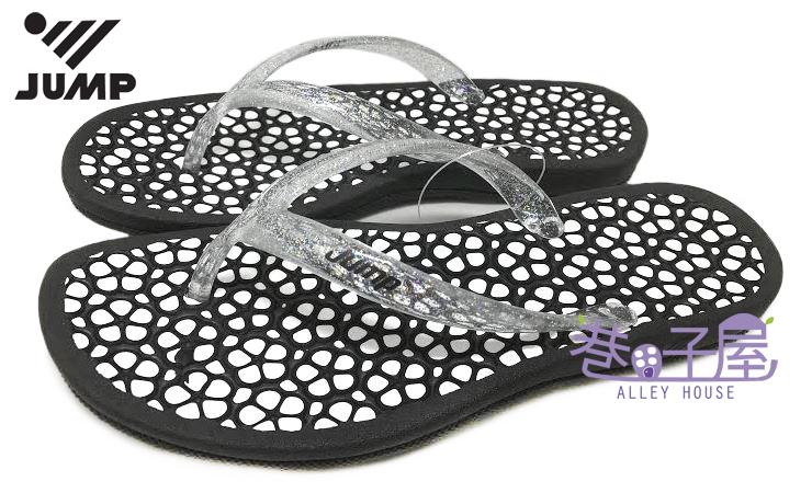 【巷子屋】JUMP將門 女款EPU花朵人字拖鞋 夾腳拖 [037] 黑白 MIT台灣製造 超值價$250