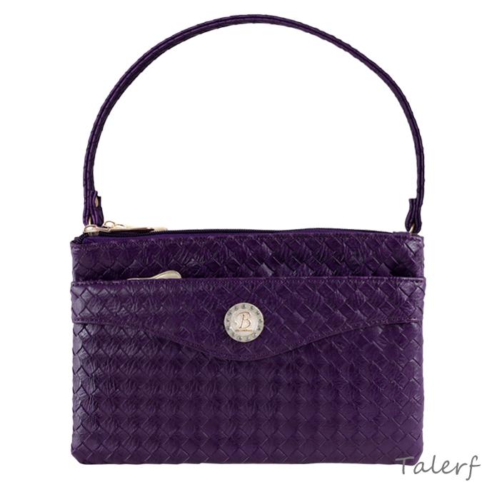 編織雙層方型斜背包(紫色)