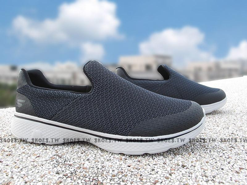 Shoestw【54155BKGY】SKECHERS 健走鞋 Go Walk 4 黑灰 瑜珈鞋墊 男生