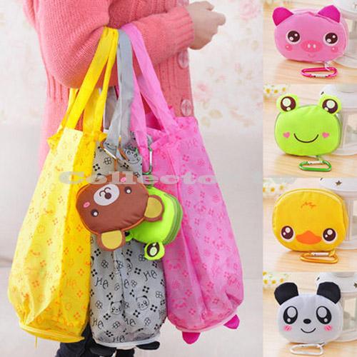 【G15060301】卡通造型拉鍊可折疊購物袋 可愛環保袋 便攜防水帶 掛鉤收納袋