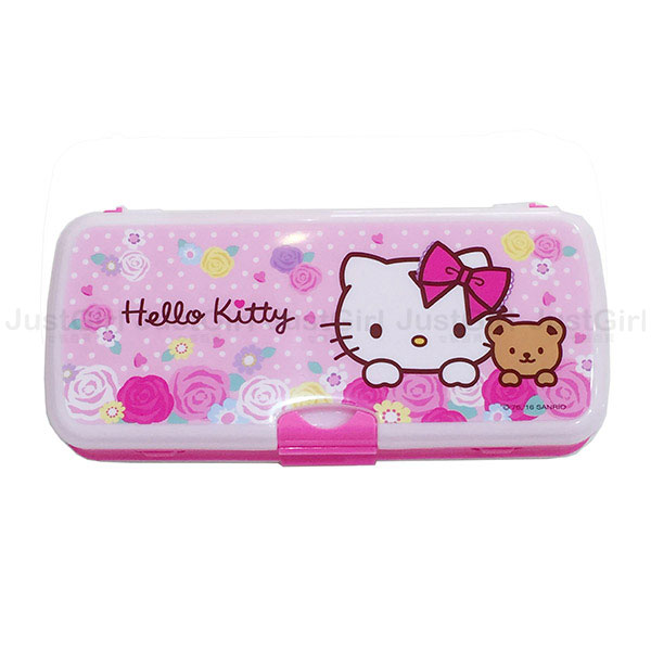 HELLO KITTY 鉛筆盒 雙層 白板 留言板 點點玫瑰花 文具 正版韓國製造進口 * JustGirl *