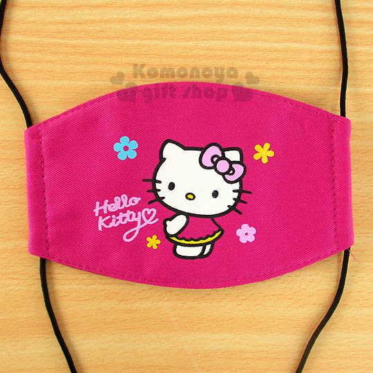 〔小禮堂〕Hello Kitty 兒童平面口罩《桃.側站.花》感冒對策用品