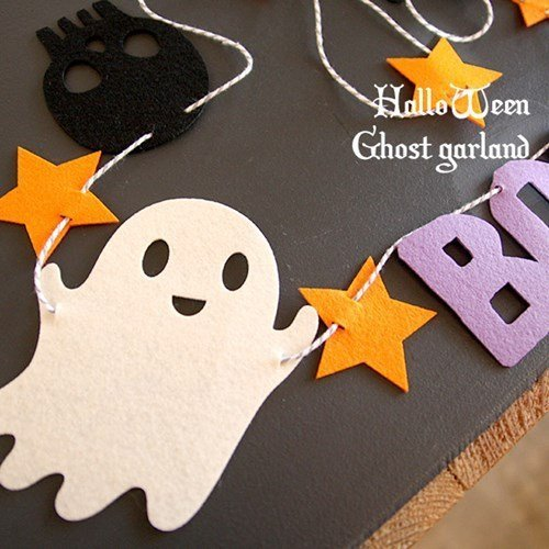 =優生活=日韓萬聖節派對裝飾用品 Halloween 拉花毛氈小旗幟 幽靈 BOO