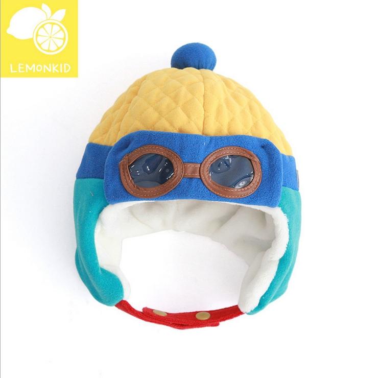 Lemonkid◆秋冬可愛酷酷熊眼鏡造型兒童保暖護耳帽飛行帽-黃色