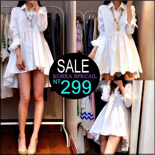 ☆克妹☆現貨+預購【ZT94507】korea秋時尚氣質立領開襟傘擺襯杉式洋裝
