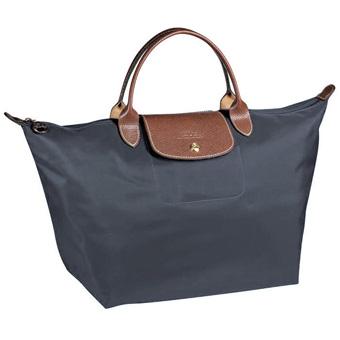[1623-M號]國外Outlet代購正品 法國巴黎 Longchamp  短柄 購物袋防水尼龍手提肩背水餃包 石墨灰