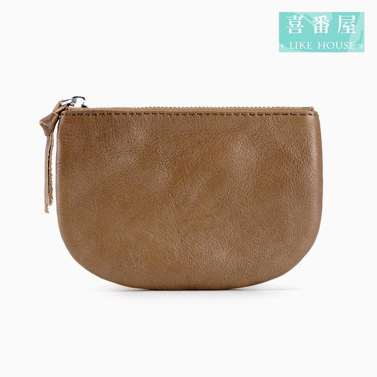 【喜番屋】真皮頭層牛皮0.5CM輕薄簡約女士皮夾皮包錢夾零錢包卡片夾卡片包收納包女包女夾LH390