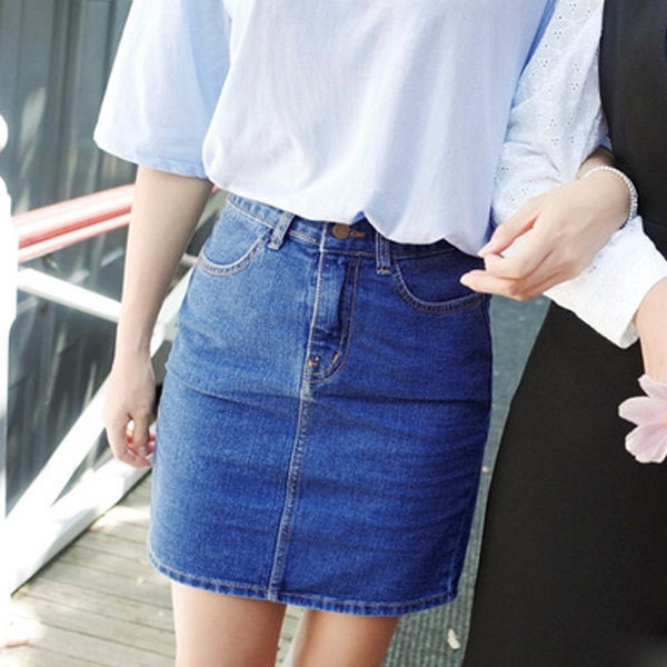 PS Mall 韓版顯瘦牛仔包臀短裙 裙子 窄裙【T662】