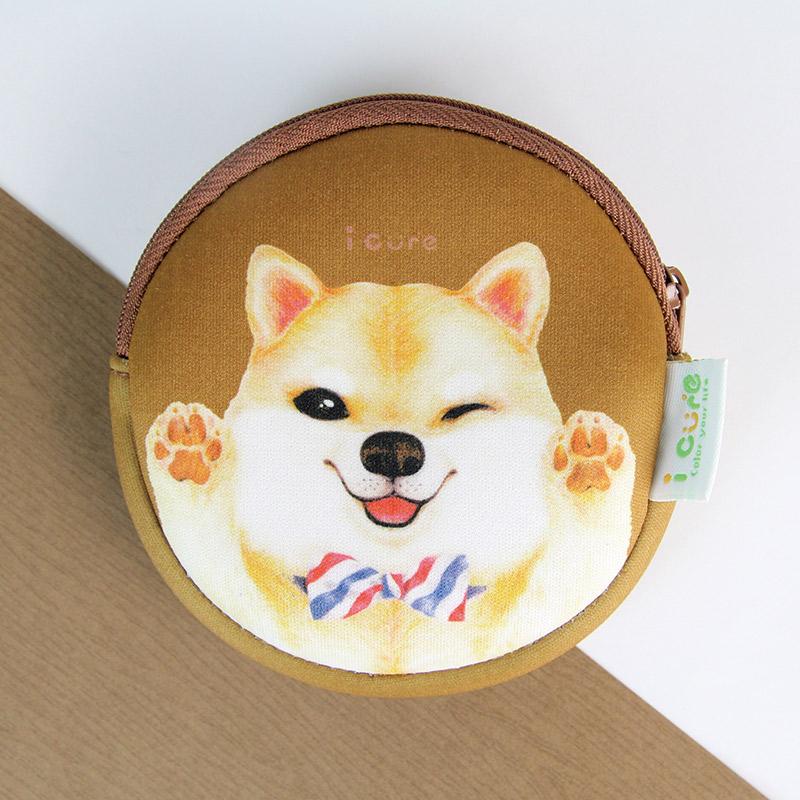 i money 咖啡色 零錢包 手繪風- 領帶柴犬 狗- 聖誕節 交換禮物