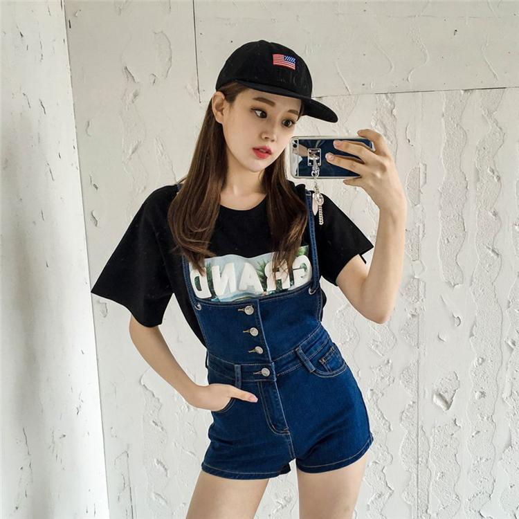 PS Mall 韓版復古連身褲單排扣吊帶修身顯瘦牛仔短褲【T2367】