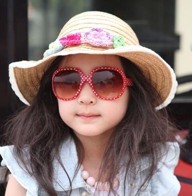 Kocotree◆時尚可愛點點俏麗豹紋兒童太陽眼鏡-紅色(點點款)