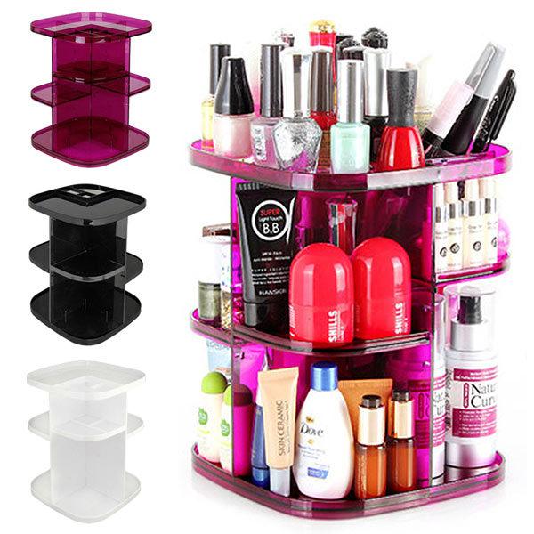 日本MAKINOU 化妝品櫃|時尚晶鑽360度化妝品旋轉收納櫃|日本牧野 飾品收納 化妝台 首飾盒 MAKINO