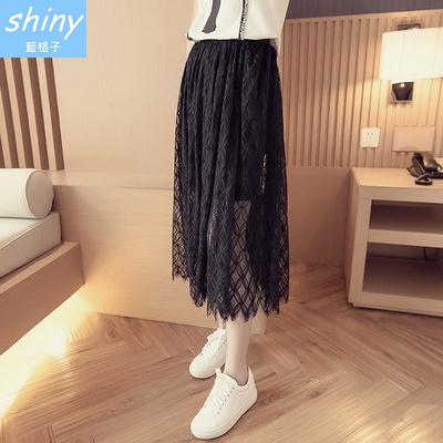 【V0852】shiny藍格子-甜夏迷人.氣質鏤空透視高腰蕾絲中長裙