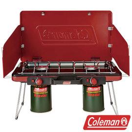 Coleman 瓦斯雙口爐 紅 CM-21950 氣化爐 瓦斯爐